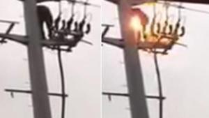 สยอง คลิปวินาทีชายสิ้นหวังถูกไฟช็อตคาเสาไฟแรงสูง
