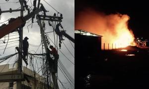 หัวหินโกลาหล เสาไฟล้มดับทั้งเมือง-ไฟไหม้คลังสินค้า